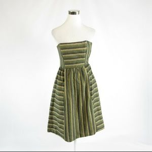 Anthropologie olive green striped A-line dress 4